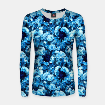 winter flowers seamless pattern 01 small icy blue Women sweater thumbnail image