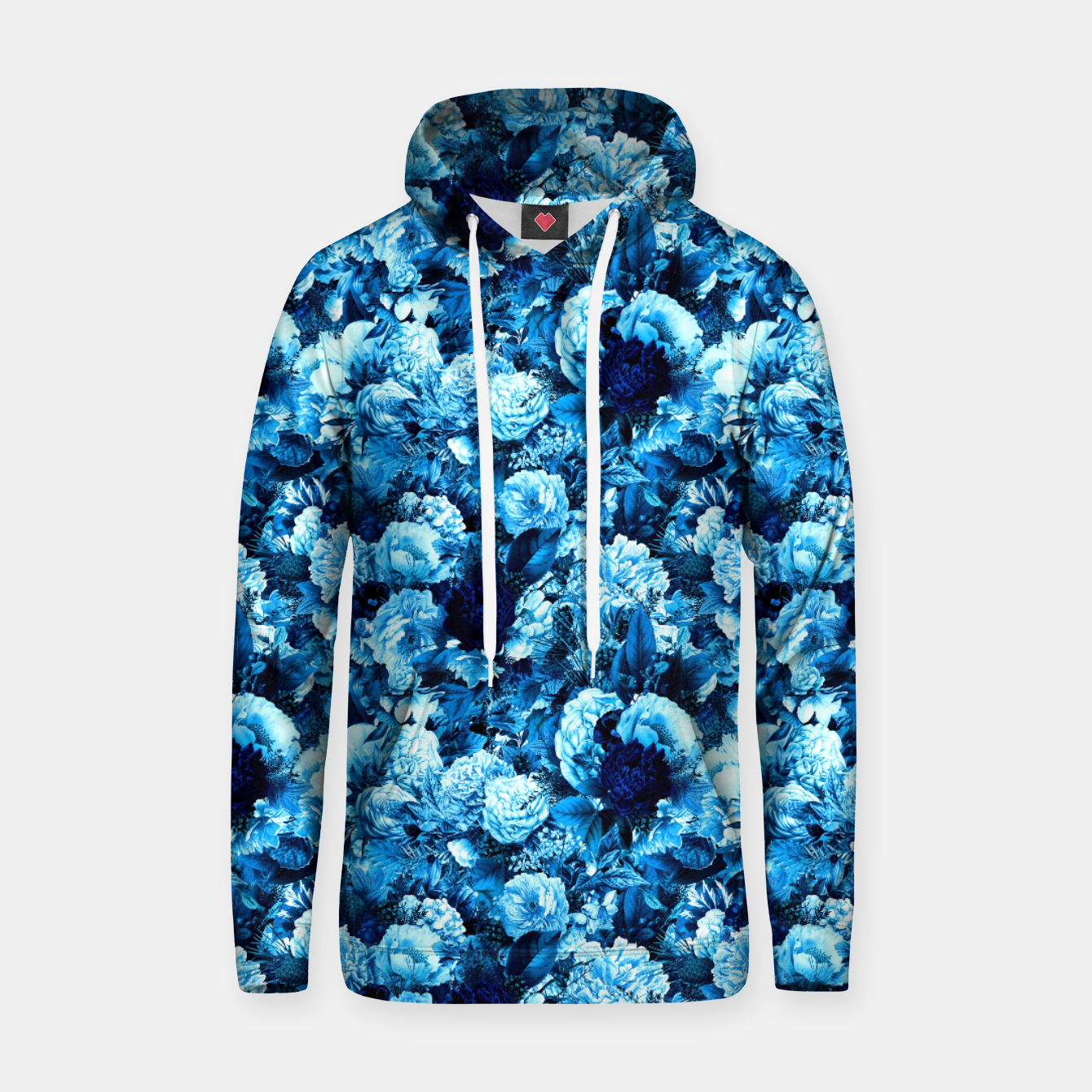 Image of winter flowers seamless pattern 01 small icy blue Hoodie - Live Heroes