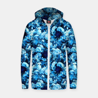 winter flowers seamless pattern 01 small icy blue Zip up hoodie thumbnail image