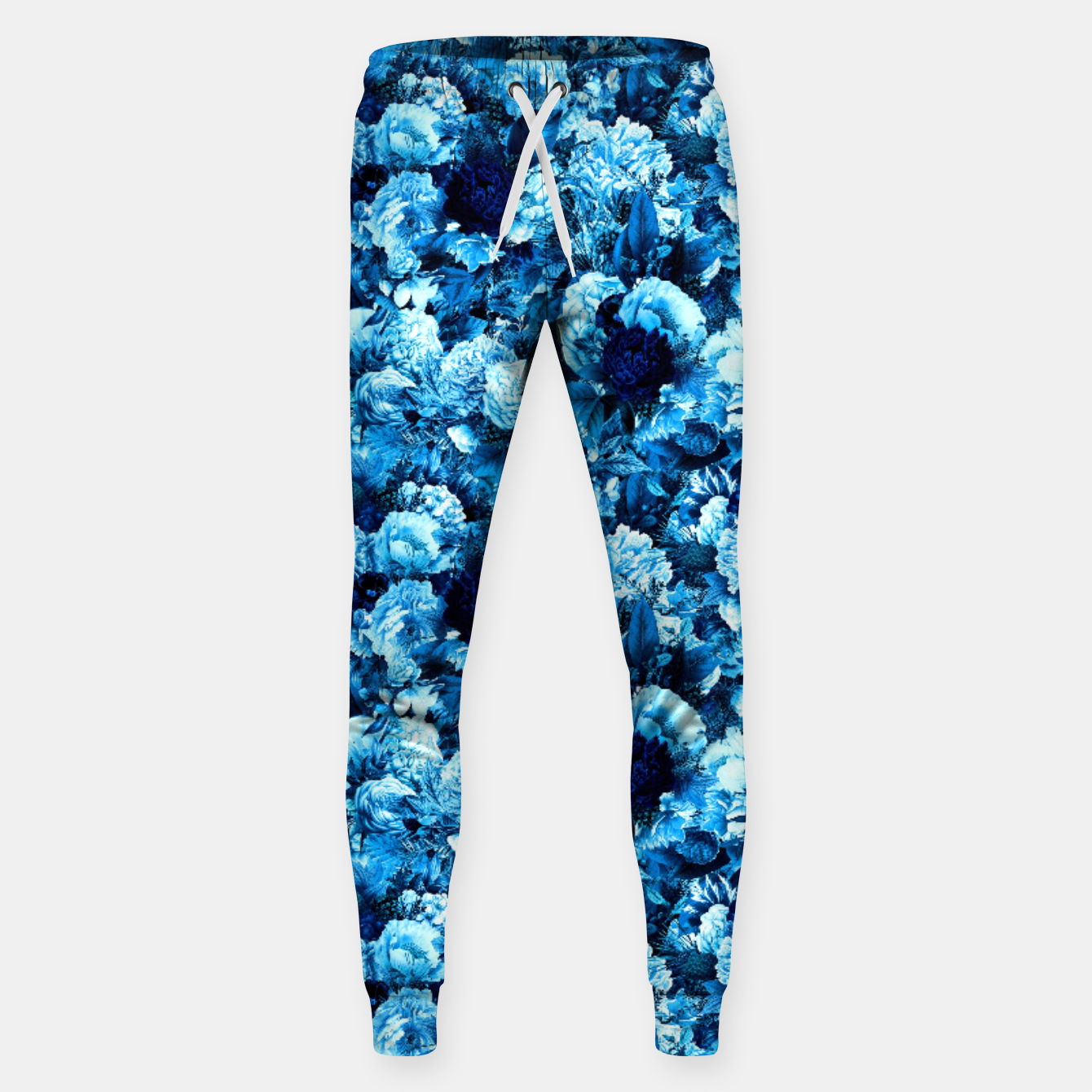 Image of winter flowers seamless pattern 01 small icy blue Sweatpants - Live Heroes
