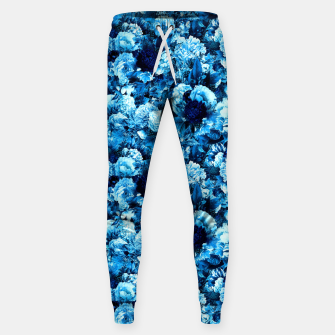 winter flowers seamless pattern 01 small icy blue Sweatpants thumbnail image