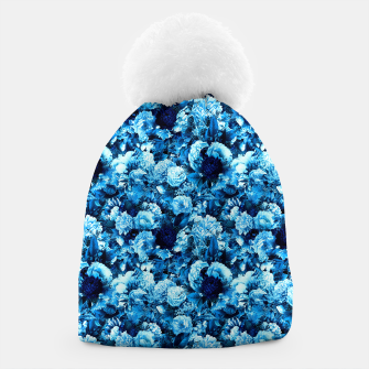 winter flowers seamless pattern 01 small icy blue Beanie thumbnail image