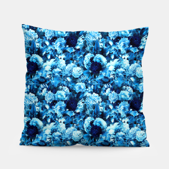 winter flowers seamless pattern 01 small icy blue Pillow thumbnail image