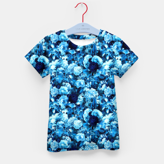 winter flowers seamless pattern 01 small icy blue Kid's t-shirt thumbnail image