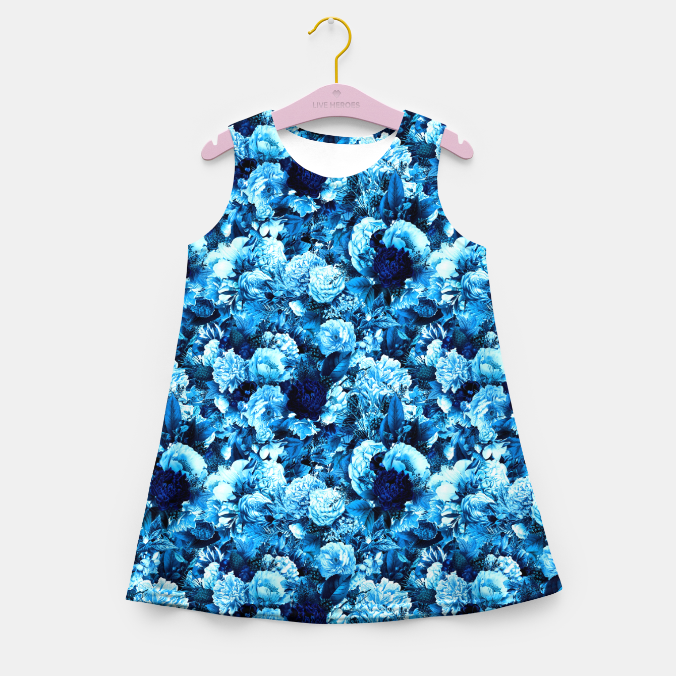 Image of winter flowers seamless pattern 01 small icy blue Girl's summer dress - Live Heroes