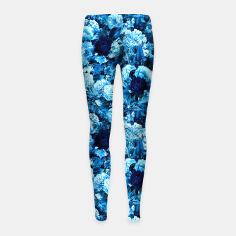 winter flowers seamless pattern 01 small icy blue Girl's leggings thumbnail image