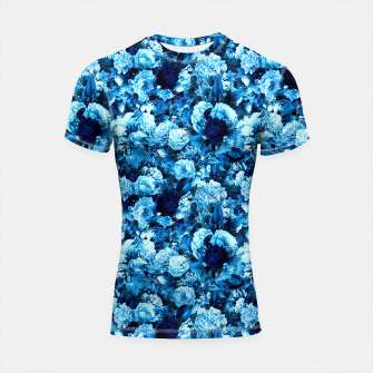 winter flowers seamless pattern 01 small icy blue Shortsleeve rashguard thumbnail image