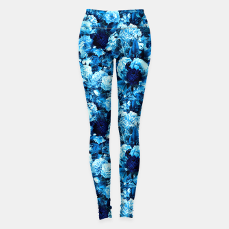 winter flowers seamless pattern 01 small icy blue Leggings thumbnail image