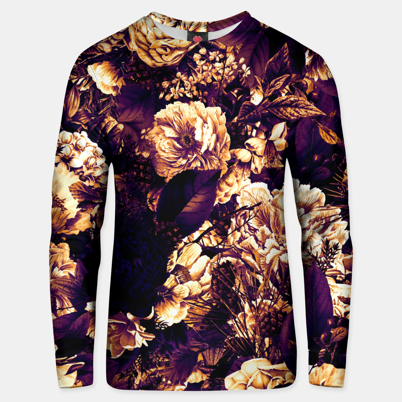 Image of winter flowers seamless pattern 01 big late sunset Unisex sweater - Live Heroes