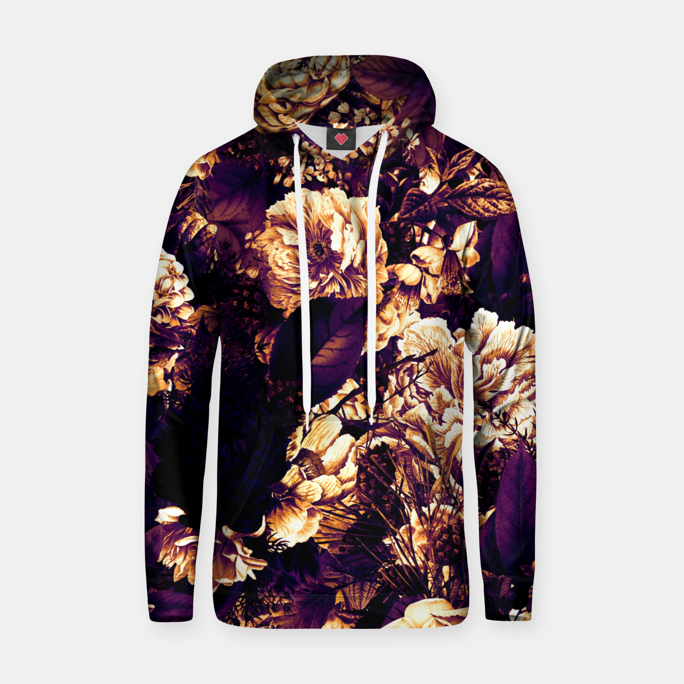Image of winter flowers seamless pattern 01 big late sunset Hoodie - Live Heroes