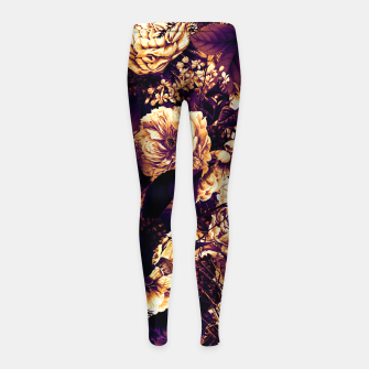 winter flowers seamless pattern 01 big late sunset Girl's leggings thumbnail image