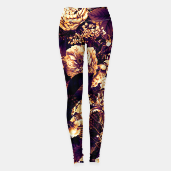 winter flowers seamless pattern 01 big late sunset Leggings thumbnail image