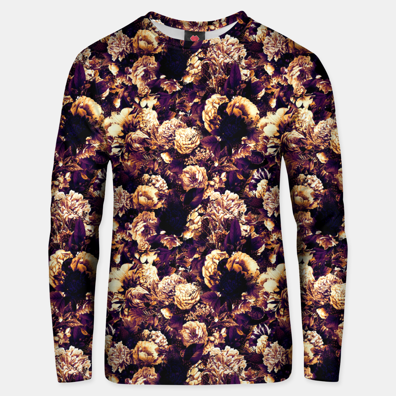 Image of winter flowers seamless pattern 01 small late sunset Unisex sweater - Live Heroes