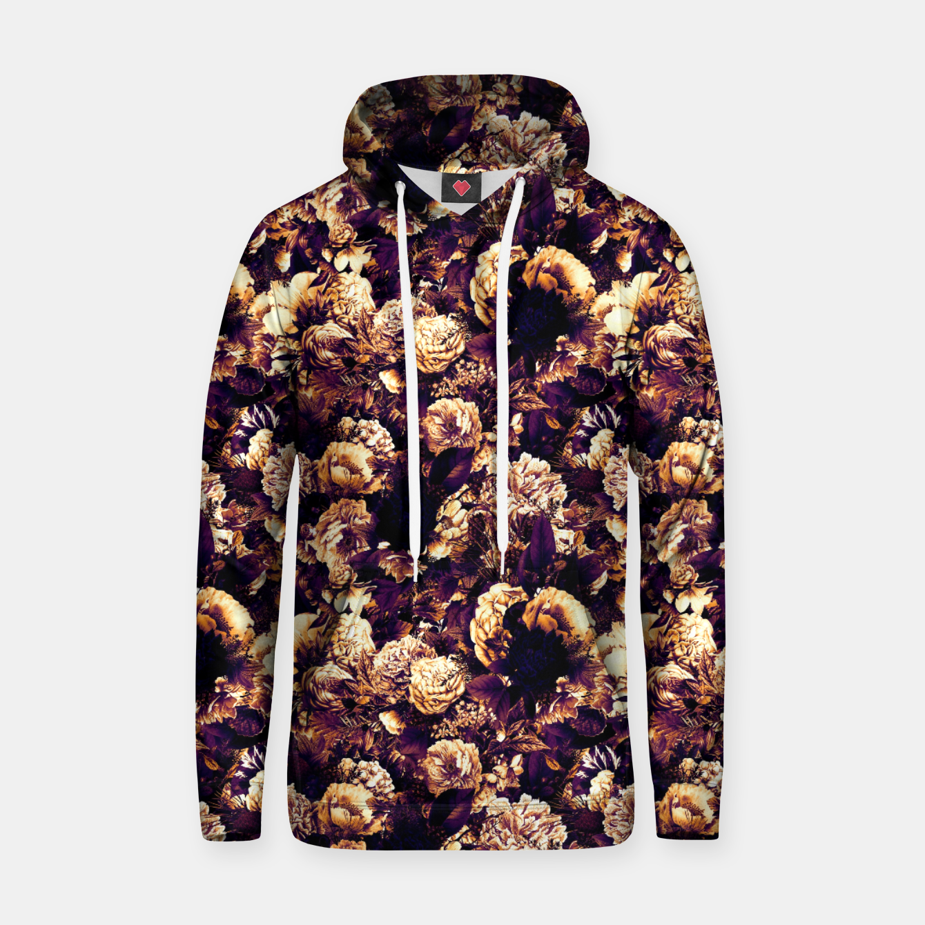Image of winter flowers seamless pattern 01 small late sunset Hoodie - Live Heroes
