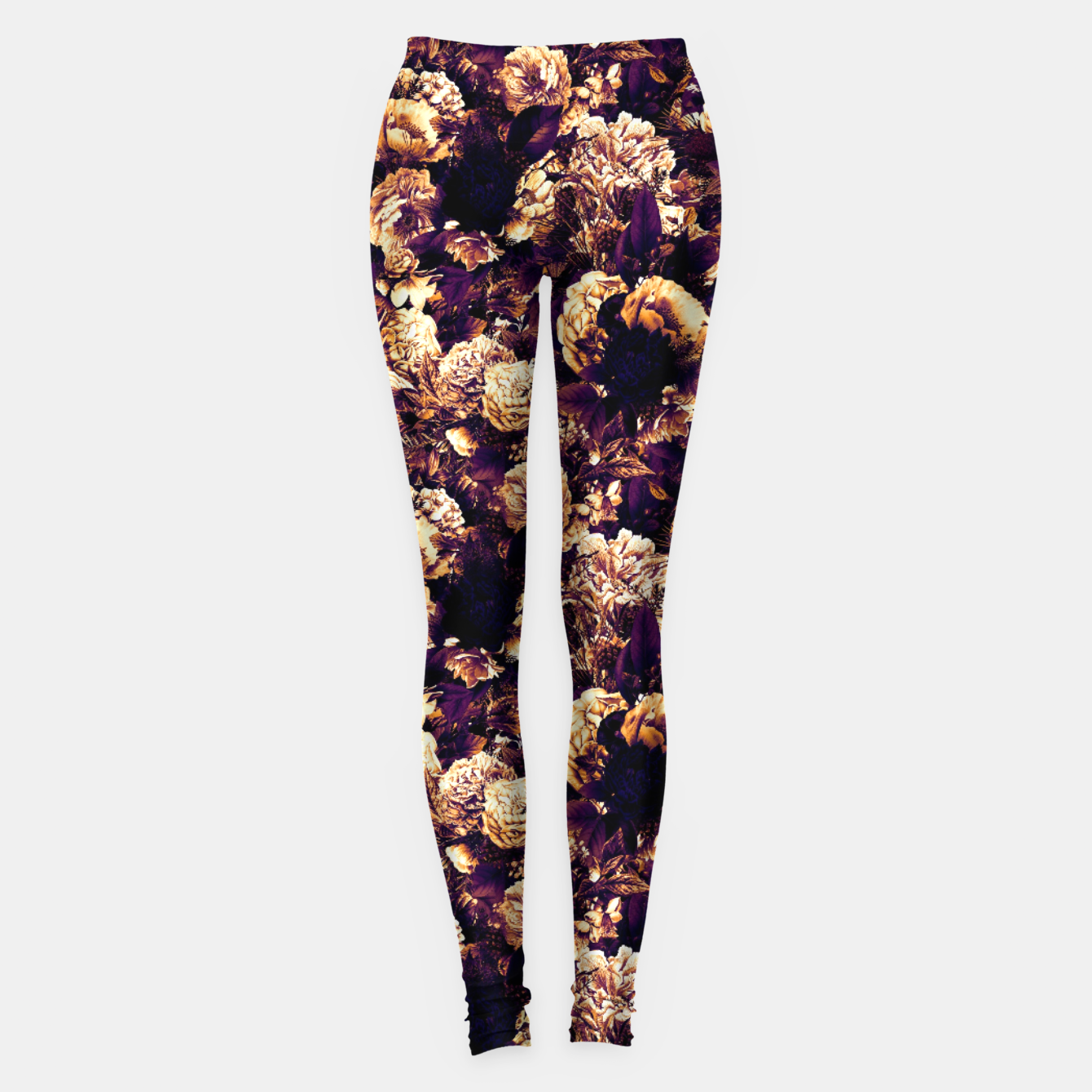 Image of winter flowers seamless pattern 01 small late sunset Leggings - Live Heroes