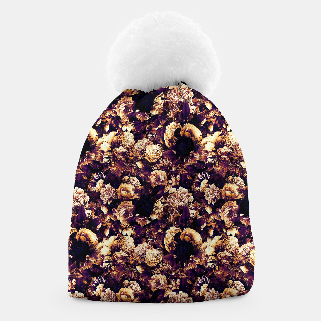 Image of winter flowers seamless pattern 01 small late sunset Beanie - Live Heroes