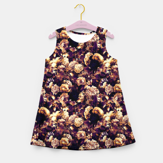 winter flowers seamless pattern 01 small late sunset Girl's summer dress thumbnail image