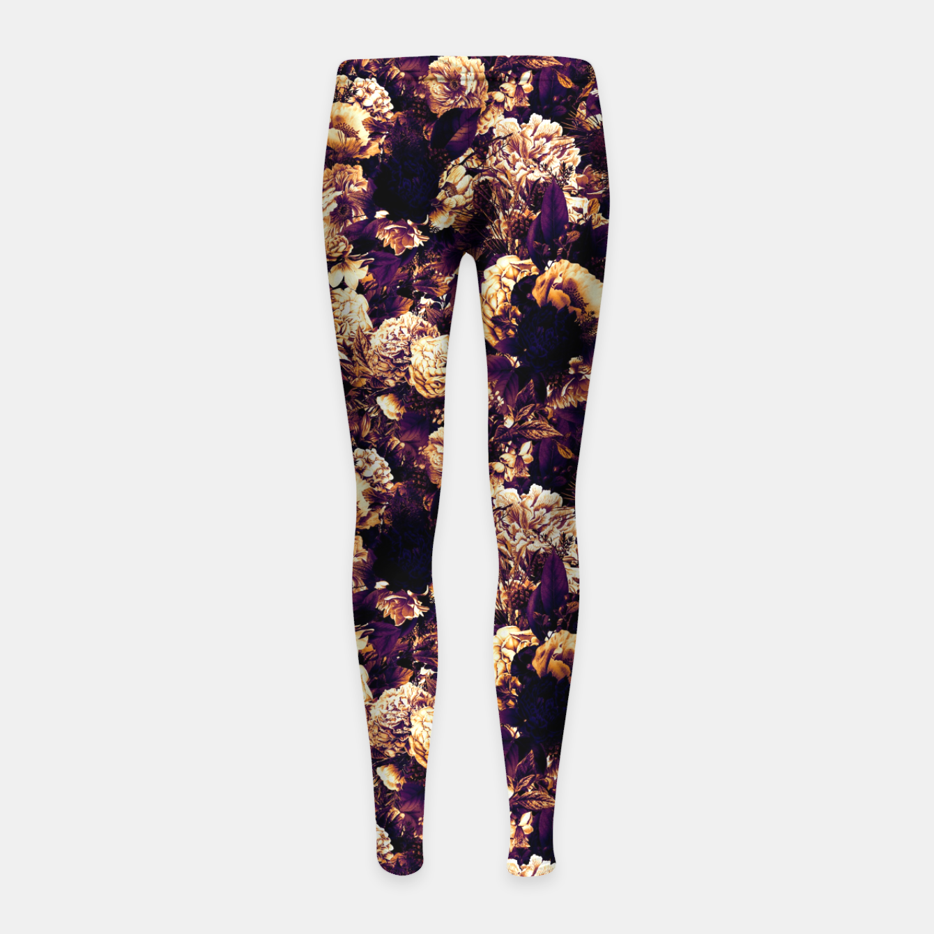 Image of winter flowers seamless pattern 01 small late sunset Girl's leggings - Live Heroes