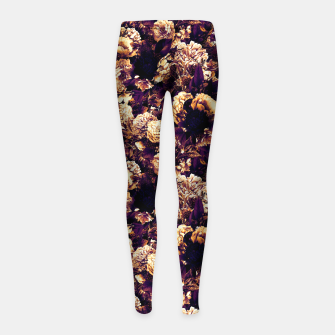 winter flowers seamless pattern 01 small late sunset Girl's leggings thumbnail image
