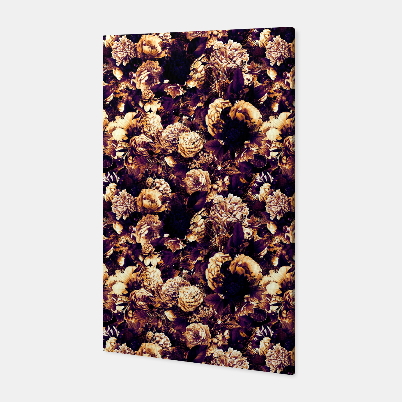 Image of winter flowers seamless pattern 01 small late sunset Canvas - Live Heroes