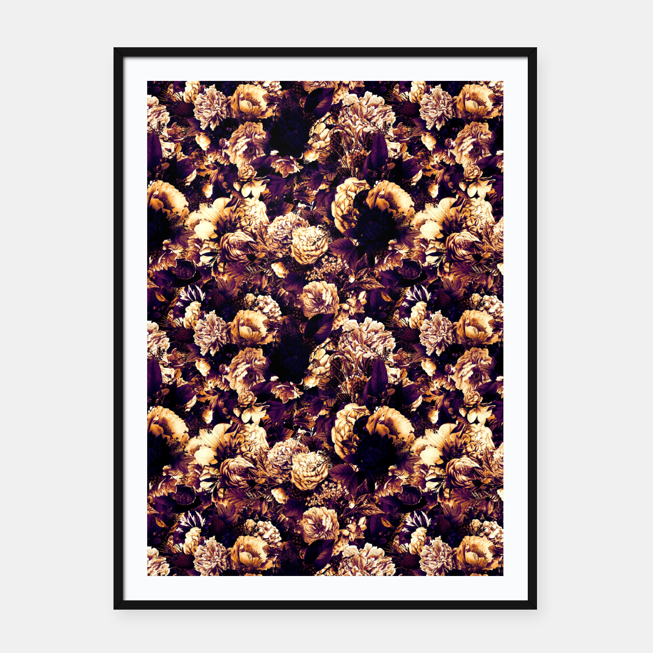 Image of winter flowers seamless pattern 01 small late sunset Framed poster - Live Heroes