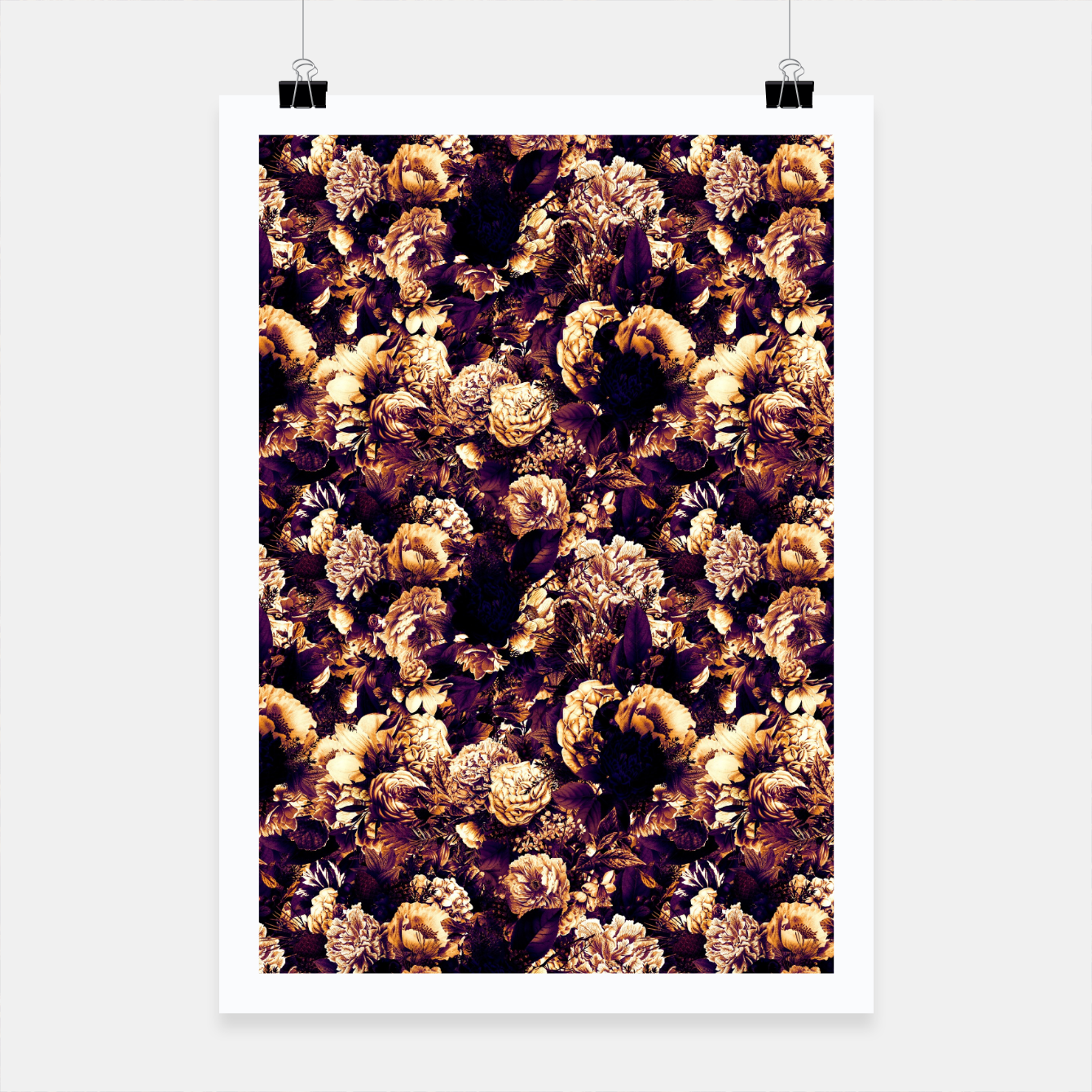 Image of winter flowers seamless pattern 01 small late sunset Poster - Live Heroes
