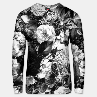 winter flowers seamless pattern 01 big light black white Unisex sweater thumbnail image