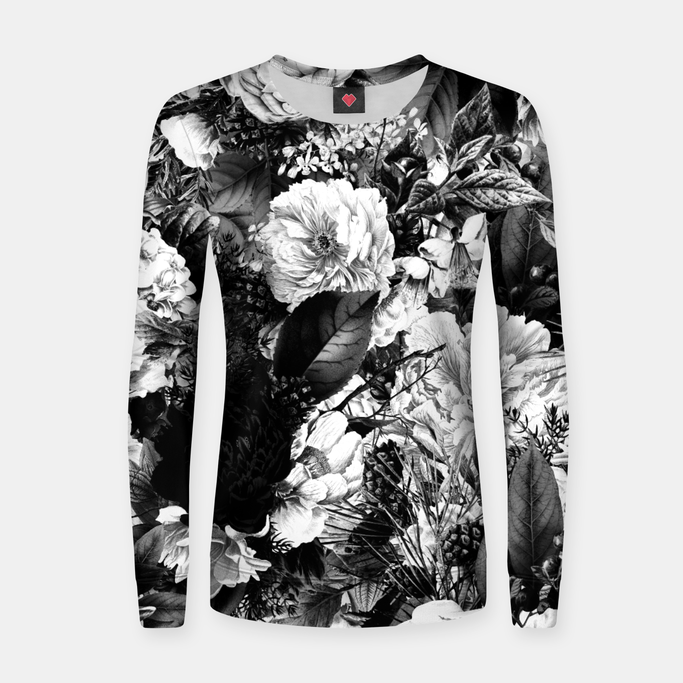 Image of winter flowers seamless pattern 01 big light black white Women sweater - Live Heroes