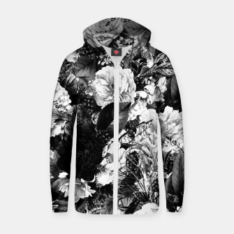 winter flowers seamless pattern 01 big light black white Zip up hoodie thumbnail image