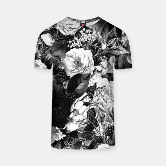 winter flowers seamless pattern 01 big light black white T-shirt thumbnail image
