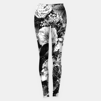 Miniaturka winter flowers seamless pattern 01 big light black white Leggings, Live Heroes