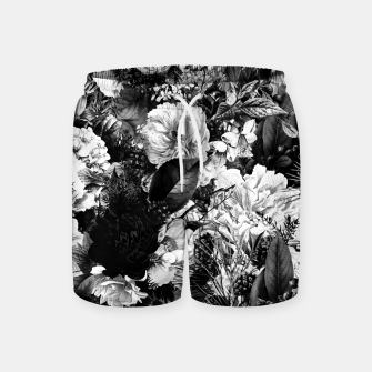 winter flowers seamless pattern 01 big light black white Swim Shorts thumbnail image