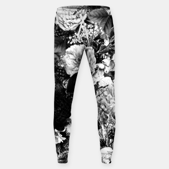 winter flowers seamless pattern 01 big light black white Sweatpants thumbnail image