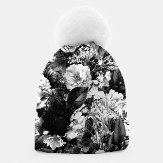 winter flowers seamless pattern 01 big light black white Beanie thumbnail image