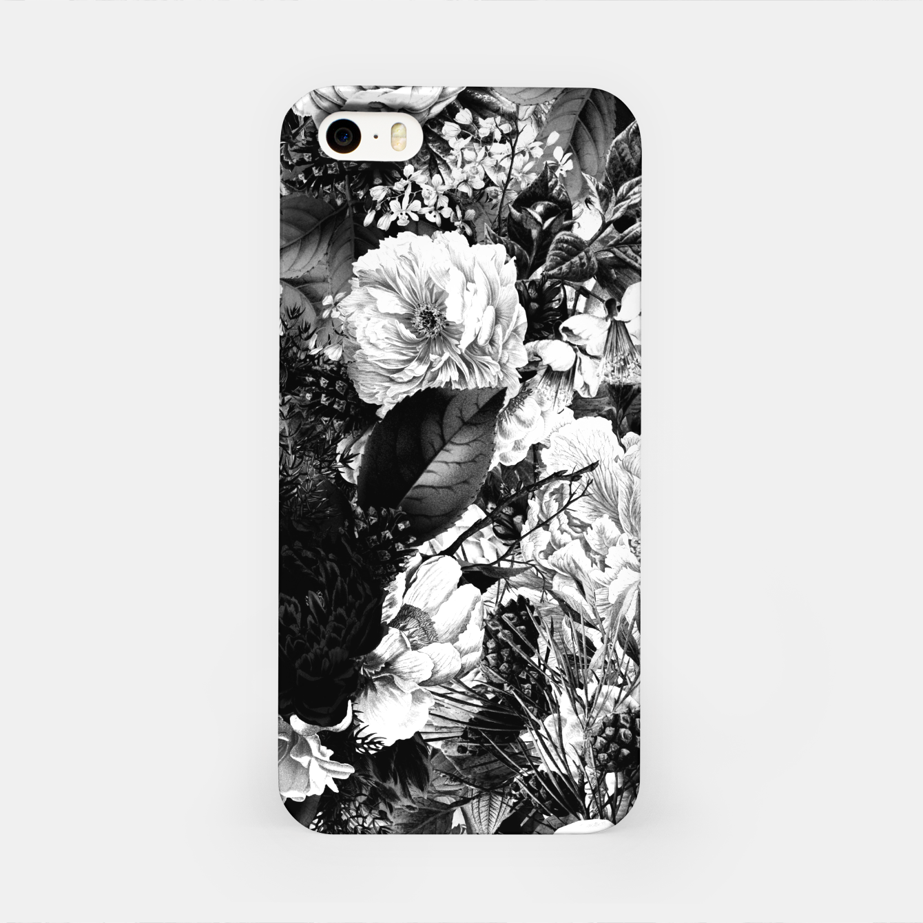 Image of winter flowers seamless pattern 01 big light black white iPhone Case - Live Heroes