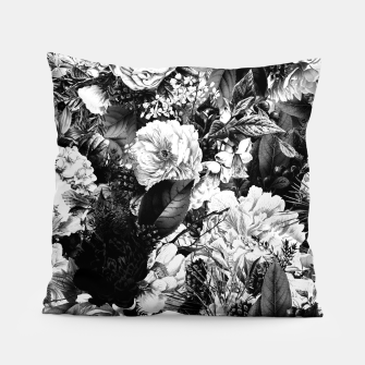 winter flowers seamless pattern 01 big light black white Pillow thumbnail image