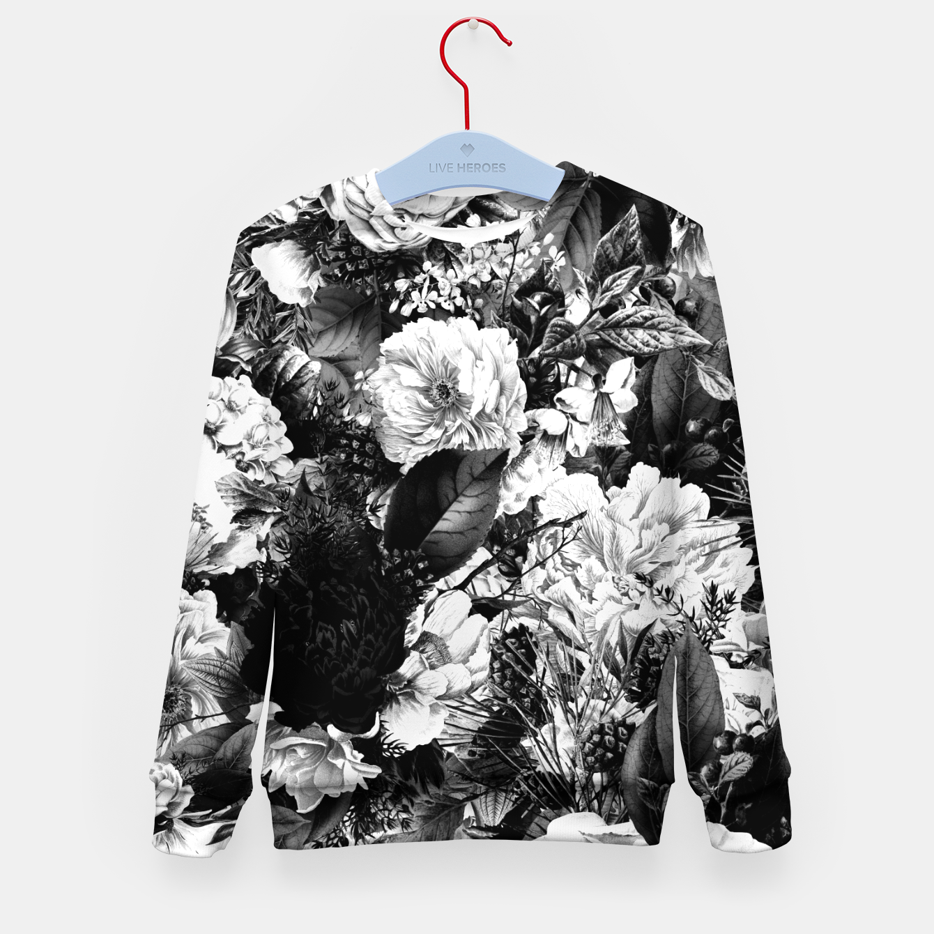 Image of winter flowers seamless pattern 01 big light black white Kid's sweater - Live Heroes