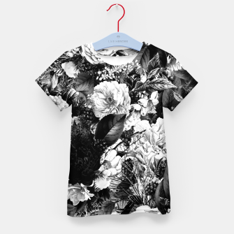 winter flowers seamless pattern 01 big light black white Kid's t-shirt thumbnail image