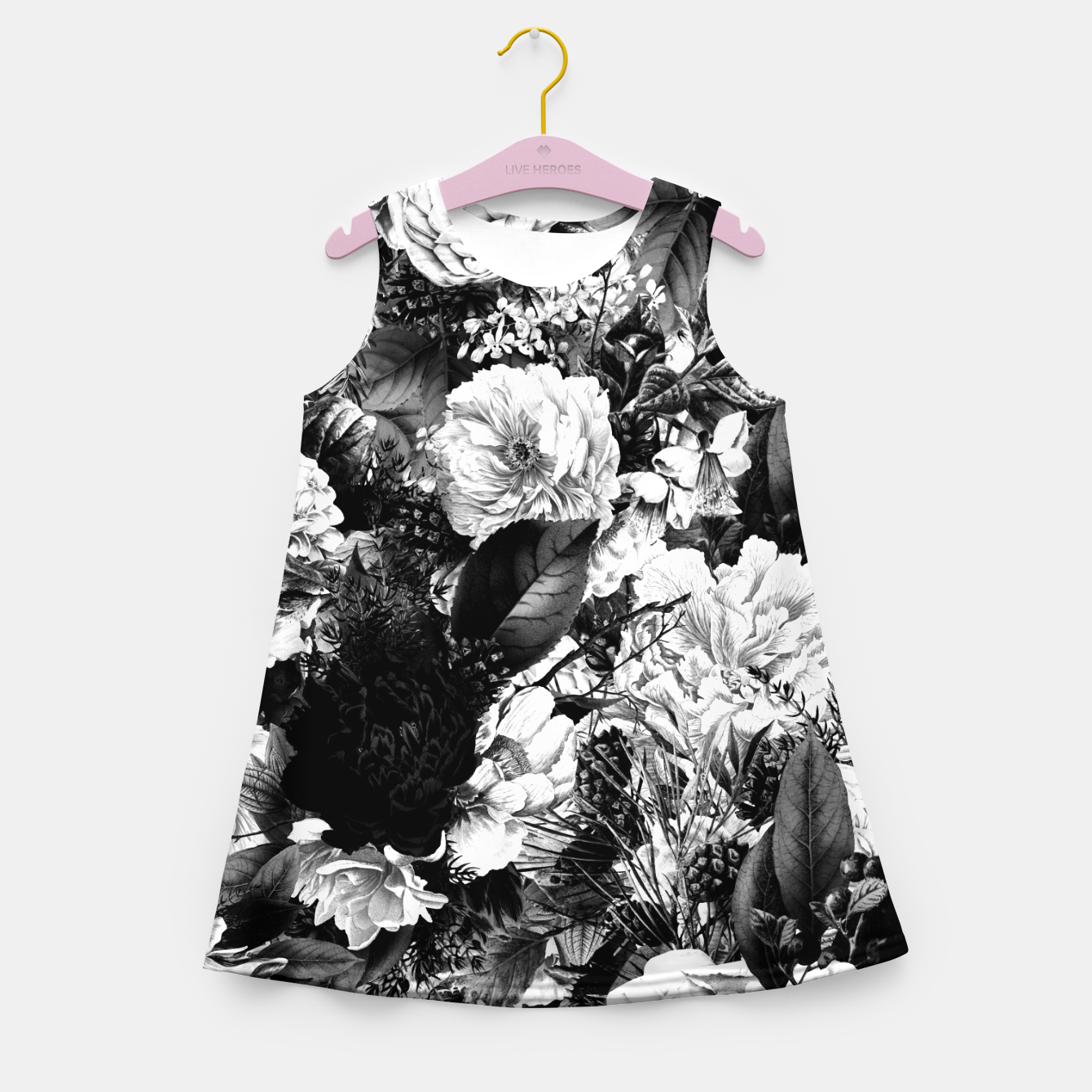 Image of winter flowers seamless pattern 01 big light black white Girl's summer dress - Live Heroes