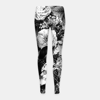 winter flowers seamless pattern 01 big light black white Girl's leggings thumbnail image
