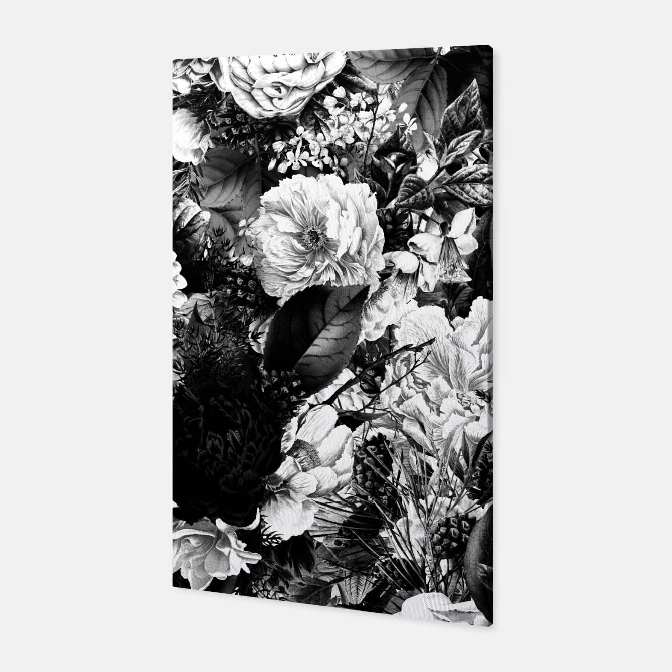 Image of winter flowers seamless pattern 01 big light black white Canvas - Live Heroes