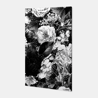 winter flowers seamless pattern 01 big light black white Canvas thumbnail image