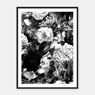 winter flowers seamless pattern 01 big light black white Framed poster thumbnail image