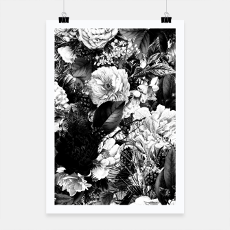 winter flowers seamless pattern 01 big light black white Poster thumbnail image