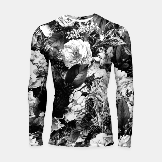 winter flowers seamless pattern 01 big light black white Longsleeve rashguard  thumbnail image