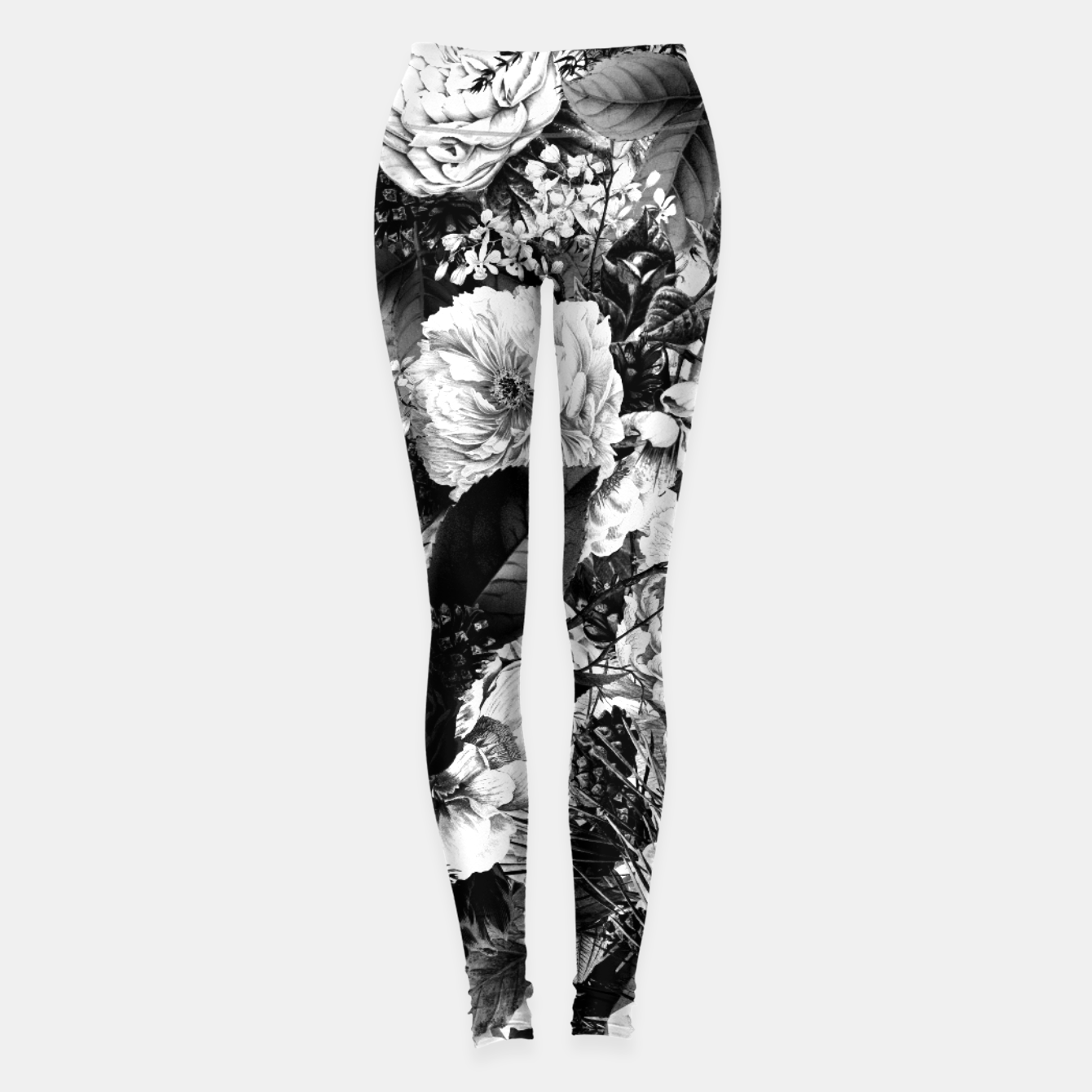 Image of winter flowers seamless pattern 01 big light black white Leggings - Live Heroes