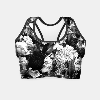 winter flowers seamless pattern 01 big light black white Crop Top thumbnail image