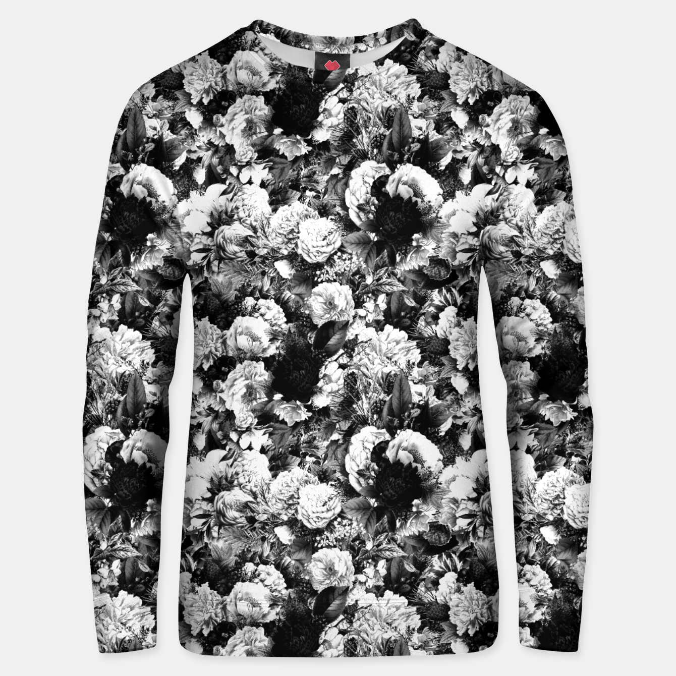 Image of winter flowers seamless pattern 01 small light black white Unisex sweater - Live Heroes