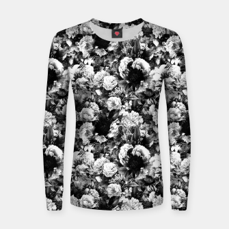 winter flowers seamless pattern 01 small light black white Women sweater thumbnail image