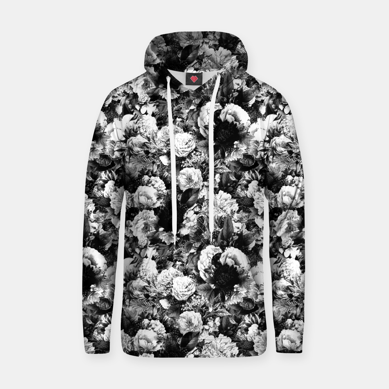 Image of winter flowers seamless pattern 01 small light black white Hoodie - Live Heroes